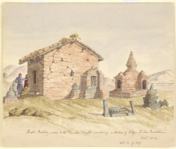 'Small Building - close to the 'Dundeo' Temple - containing a statue of Sakya Sinha Buddha.  Nov. 1854'